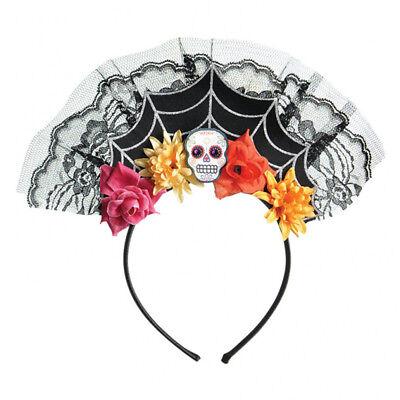 Damen Halloween Tag der Toten Kostüm Spinnennetz Stirnband - Tag Der Toten Damen Kostüm
