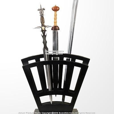 Black Wooden Vertical Display Stand Holds 9 Pcs Medieval Long Swords