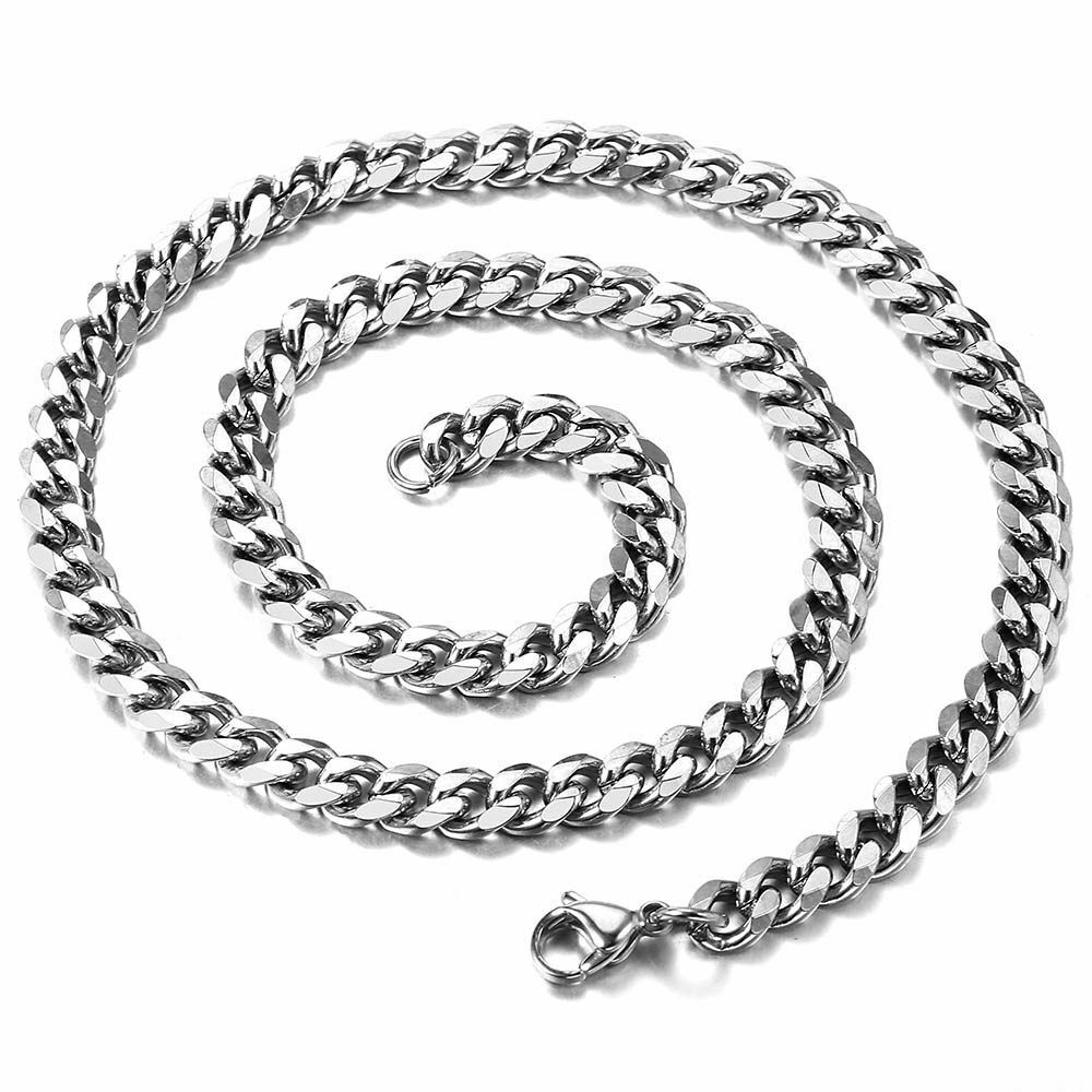 18″-36″ Stainless Steel Silver Tone Chain Cuban Curb Mens Necklace 3/5/7/9/11mm