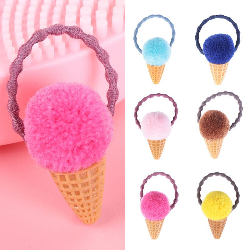 Rope Seamless Girls Hair Ties  Ice Cream Faux Fur Elastic Hair Band  Pompom