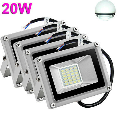 4X 20W LED Flood Light Cool White Outdoor Garden Yard Spot Lamp Waterproof 12V