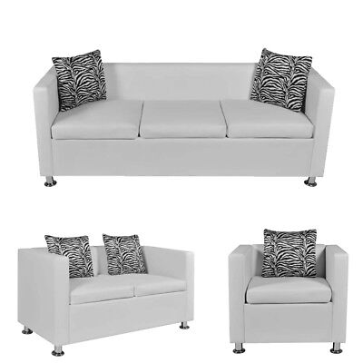 1/2/3 Seater Sofa Couch Artificial Leather Living Room Furniture W/ Pillow White