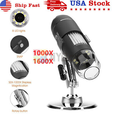 1000x 1600x 8 Led Usb Digital Microscope Endoscope Zoom Camera Magnifier Stand