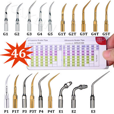 46 Types Compatible With Ems Woodpecker Ultrasonic Scaler Perio Scaling Tips