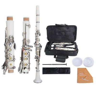 New Professional School Student Band 17Key B Flat Bakelite Clarinet White