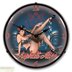 Asphalt Alice Motorcycle Bike Retro WALL CLOCK 14 LED Lighted Back Made USA New