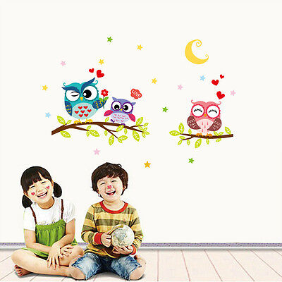 Lovely Owl Cartoon Removable Wall Stickers For Kids Rooms Home Decor Waterproof  ()