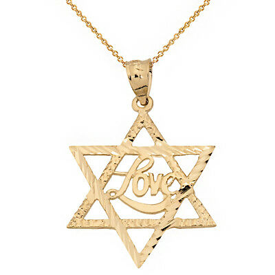 Love Star Of David Pendant - 14k Yellow Gold Diamond Cut Star of David with the LOVE Word Pendant Necklace