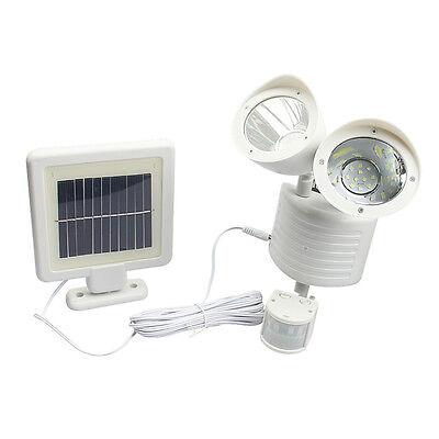 Dual LED Security Motion Sensor Light Solar Outdoor Garden Floodlight Spot Lamp