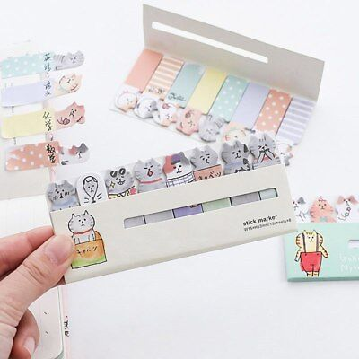 2x Cute Cat Memo Pad Mini Index Sticker N Times Sticky Notes Kawaii Stationery