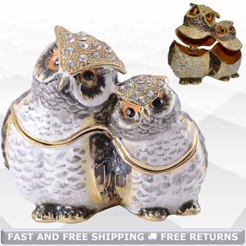 Owl Bird Jewelry Trinket Box With Hinged Lid Enamel Jeweled Crystal Ring Storage