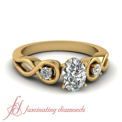 .80 Ct Three Stone Oval Shaped Diamond Infinity Yellow Gold Engagement Ring GIA