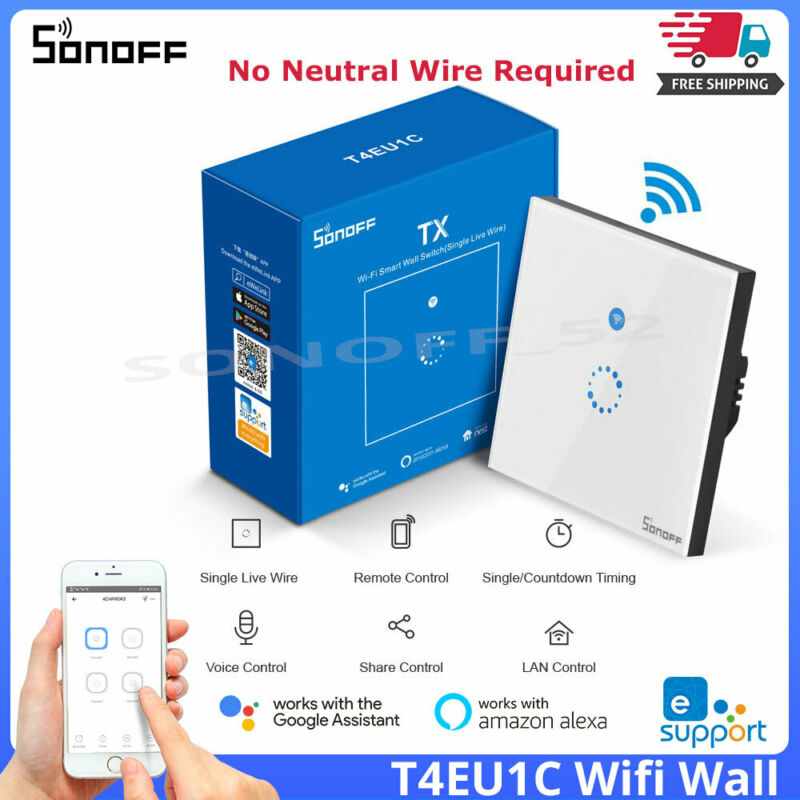SONOFF T4EU1C WIFI Touch 1 Gang EU No Neutral Wire Required Smart Wall Switches