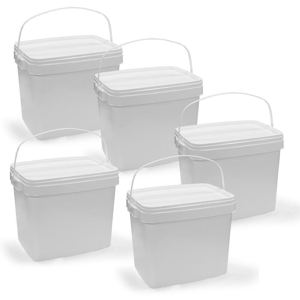 Lyra Pet Eimer 2 x 24 L mit Deckel weiß eckig Plastikeimer Henkel Aufbewahrung