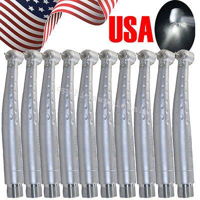10x Usa Dental High Speed Handpiece Led Fiber Optic Push 3 Water 2 Hole Fit Nsk