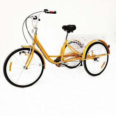 24 pulgadas Triciclo para adultos con 3 ruedas 6 velocidades con luces