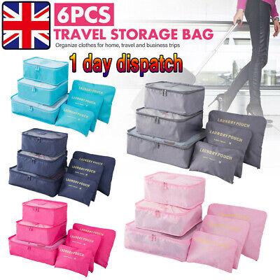 6PCS Set Luggage Organiser Suitcase Storage Bags Clothes Packing Travel Cubes UK