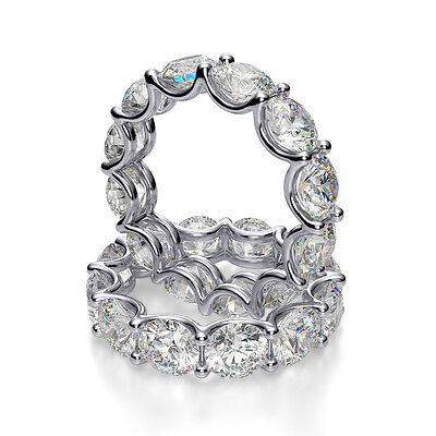 6.50ct Redondo Natural u-Prong Eternidad Alianza con Diamante