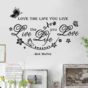 Bob marley quote love the life wall decals sticker room for Bob marley wall mural