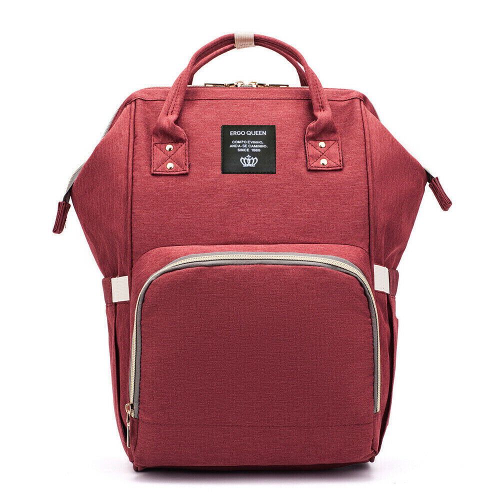 Ergo Diaper Bag Backpack Mummy Maternity Nappy Large Capacity Baby Bag Travel  Wine Red