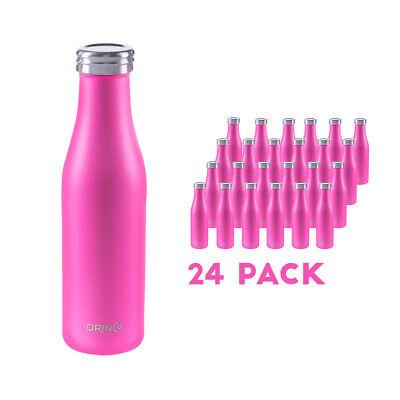 Drinco Vacuum Insulated Powder Coated Slim Stainless Steel Water Bottle 24 Pack Slim Stainless Steel Vacuum Bottle