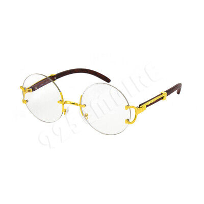 Gold Round Rimless Metal Frames Vintage Retro Large Eye Glasses Clear Lens (Large Rimless Glasses)
