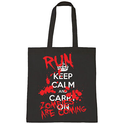 Zombie Trick Or Treat Bags (KEEP CALM AND CARRY ON RUN ZOMBIES TRICK OR TREAT HALLOWEEN SHOPPER TOTE)