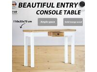 Console Table White and Brown 110x35x75 cm Solid Mango Wood-247737