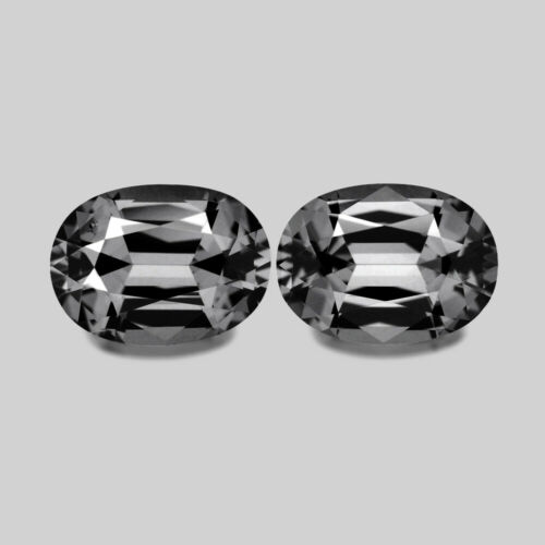 2.10cts TOP MASTER OVAL CUT NATURAL SILVER GRAY SPINEL PAIR VIDEO IN DESCRIPTION