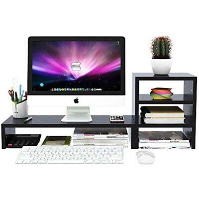 Wood Computer Monitor Stand Raiser Black With 3 Tier Desktop Organizer Storage