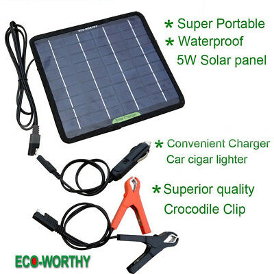 Solar Panel 12V Battery Charger Way Maintainer Marine Boat RV Car Waterproof