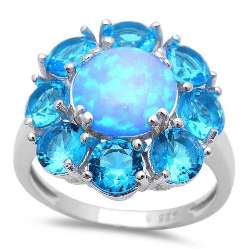 Blue FIRE Opal & Blue Topaz Flower .925 Sterling Silver Ring