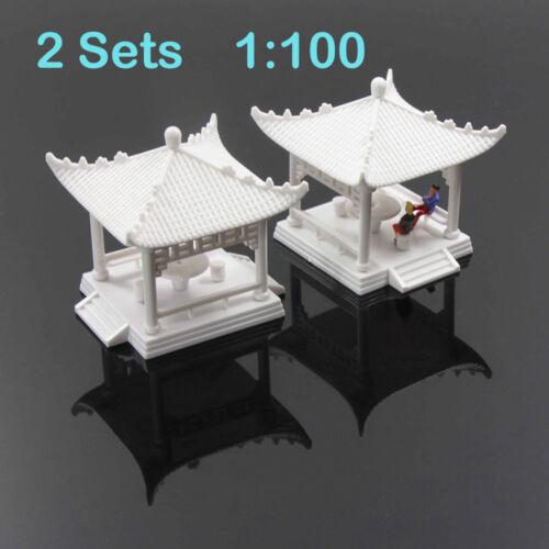 GY02100 2pcs Pavilion Model Gloriette Chinese Construction Educational 1:100 TT