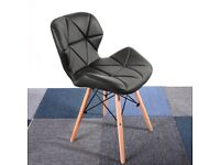 4 x Eiffel Style Dining Chairs Wood Legs & Comfortable Padded Seat