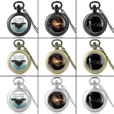 Antique Game of Thrones Pocket Watch Quartz Full Hunter Necklace Chain Gift GOT