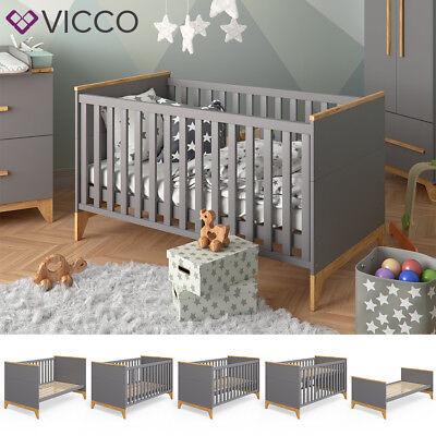 VICCO Babybett Malia Kinderbett Gitterbett Beistellbett Jugendbett Bett 140x70cm
