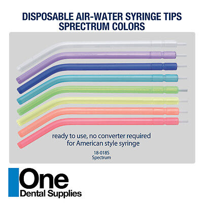 Dental Disposable Air-water Syringe Tips Spectrum Colors 250 Pcs