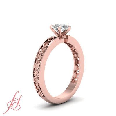 1/2 Carat Pear Shaped Diamond Vintage Inspired Rose Gold Wedding Rings Set GIA 2