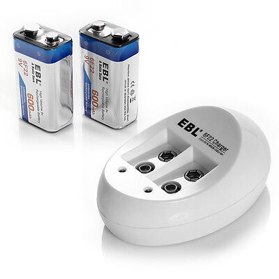 2x 9V 600mAh Li-ion Lithium Ion Rechargeable Battery + NiMH NiCd Battery Charger on Rummage