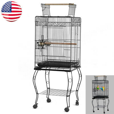 "57""Large Bird Parrot Pet Cage Chinchilla Cockatiel Conure House w/Stand Food Cup"