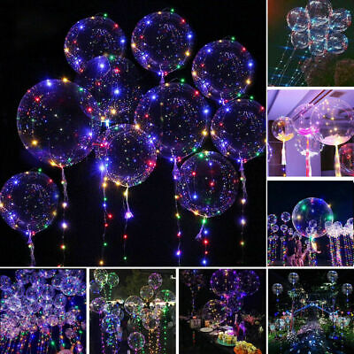 12x LED Balloon Leucht Helium Luftballon Transparent Hochzeit Lichterkette 20
