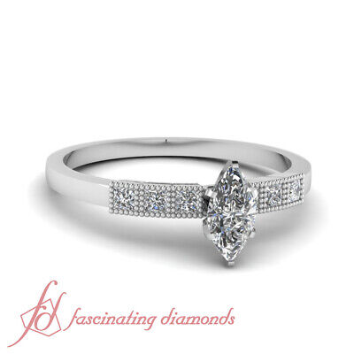.65 Ct Marquise Cut Conflict Free Diamond Milgrain Style Engagement Ring SI2 GIA