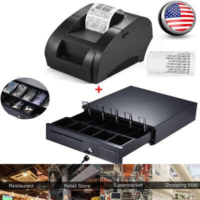 58mm Usb Pos Thermal Printer Receipt Bill Ticketkey-lock Cash Drawer Box C2z6