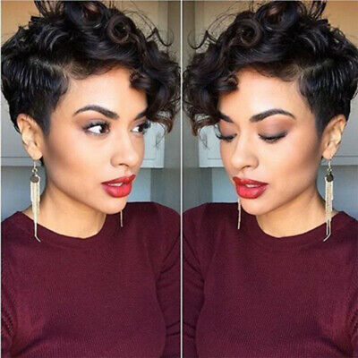 Short Curly Hair Pixie Cut Wigs for Black Women Cheap Synthetic Short Wig  - Wigs For Women Cheap