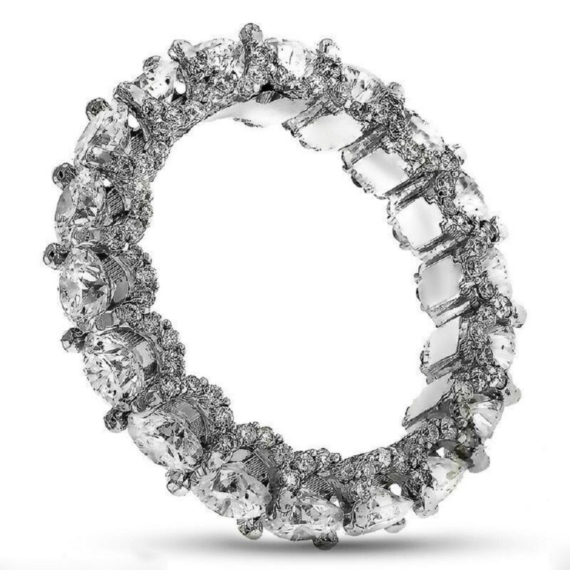 14k Gold 8.00 Carat Round Cut Diamond Ring Dia Certified Eternity