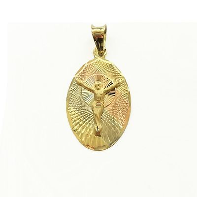 10K Yellow White Rose Gold Jesus Oval Medal Pendant - Crucifix Necklace Charm