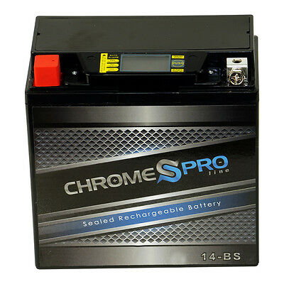 YTX14-BS Chrome Pro Series High Performance iGel Powersport Battery