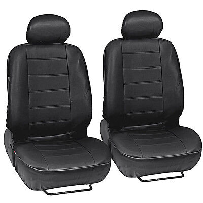 Synth Leather Car Seat Covers - Premium PU Leatherette Front Pair in Black