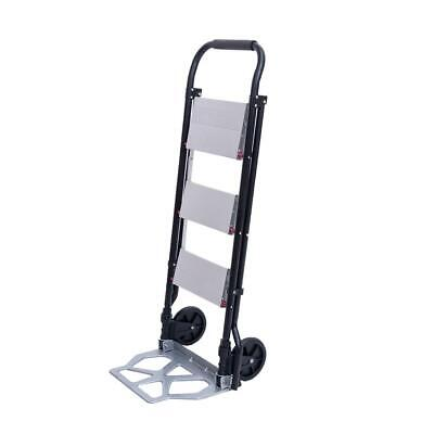 2-in-1 New 3-step Ladder And Hand Truck Trolley Cart Folding W Two Wheels 330lb