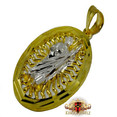10K REAL YELLOW GOLD SAINT JUDAS DIAMOND  CUT OVAL CHARM PENDANT MEN
